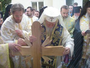 13 mai 2006 - Părintele Mihoc la punerea pietrei de temelie