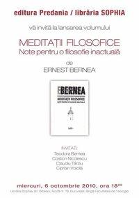 """Afiş lansare carte """"Meditaţii filosofice"""" de Ernest Bernea"""
