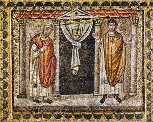 Vameşul şi Fariseul. Mozaic, anul 504,  Basilica Sfântului Apollinarie Nuovo, Ravena, Italia.