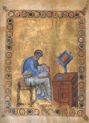 O imagine cu Sfântul Apostol Matei în timp ce îşi scrie Evanghelia, dintr-un manuscris din secolul al X-lea